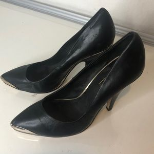 Topshop Black Leather Stiletto Heels with Gold